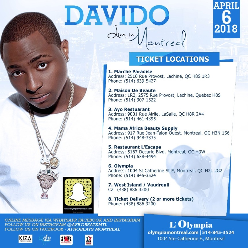 Davido, live in Montreal at the L'Olypia | BLACK STUDIES CENTER PORTAL